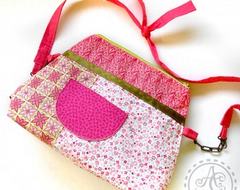 Child, pink and Apple green bag