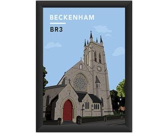 Beckenham St.George's Church BR3 - Giclée Art Print - South London Poster
