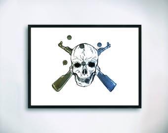 Skull and rifles Watercolor Painting Print, Art, Wall Decor