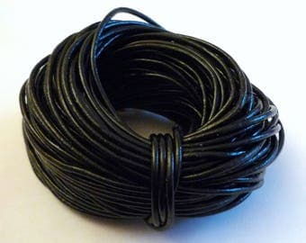 3 m - 2mm - black genuine leather cord