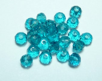 25 beads 4mm turquoise Crystal