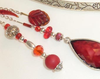 "Large bookmark Jewelry Silver Crystal ""drop red"""