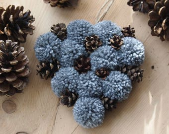 Grey Hanging Heart - pompom heart , pinecone hanging heart,