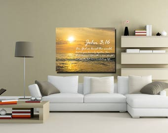 John 3:16 #3 KJV 'For God so Loved the World' Scripture Christian Wall Art, Bible Verse Canvas, Christian Canvas, Bible Verse Wall Art