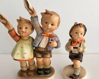 Hummel Lot of 2 Auf Wiedersehen & Whistling School Boy Hummel - Germany 1940 Figurines Rare Collectible