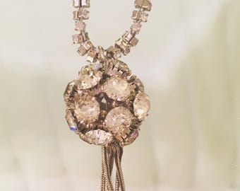 1960's Vintage runway rhinestone stunning long necklace...perfection....