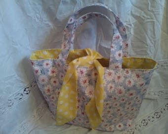 Bright cheerful tote bucket shopping bag. Daisy yellow polka dot. Scarf style tie. Hand made sewn. Summer hippy floral boho festival