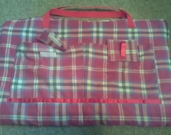 Tartan paw print fleece portable travel pet dog bed. Red carry handles. Pet accessories gifts! holidays! pubs!