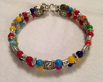 Beautiful multi color stone Tibetan silver beaded bracelet