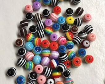 95 striped 8 mm acrylic beads