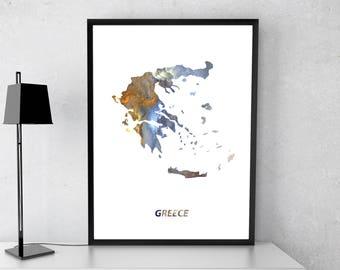 Greece poster, Greece art, Greece map, Greece print, Gift print, Poster