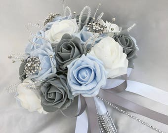 Customer Order 001 - Brides, Bridesmaids Posies, Buttonholes, Baby Blue, Grey, White Roses, Diamantes, Brooches - Artificial Wedding Flowers