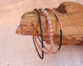 Rose Colored Czech Glass Beads with Brown Seed Bead