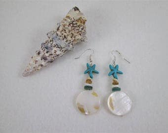 Mother of Pearl Shell Starfish Earrings
