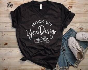 bella canvas v neck T-shirt Mockup-T-Shirt Mockup-Mock Up Shirt-T Shirt MockUp-Outfit Wood -Flat Lay -Product Photography