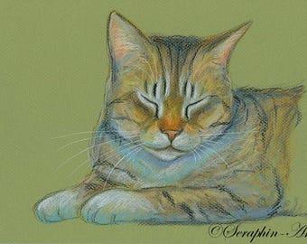 Tabby Cat Original Oil Pastel Painting