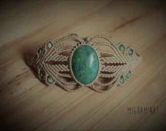 Chrysocolla and macrame bracelet