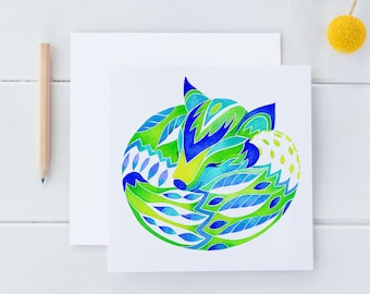 Spring Fox Watercolor Note Card, Woodland Watercolor Note Card, Square 5 x 5 Woodland Stationery