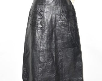 New Black Leather KUMAR BROS Straight High Waist Skirt Size UK6 L29""
