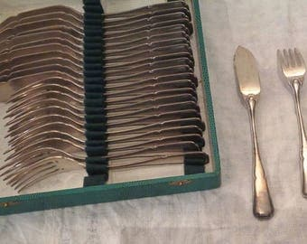 Antique French fish service silverware