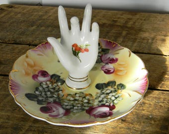 Porcelain Hand Ring Dish - Vintage, Hand Painted 1950's