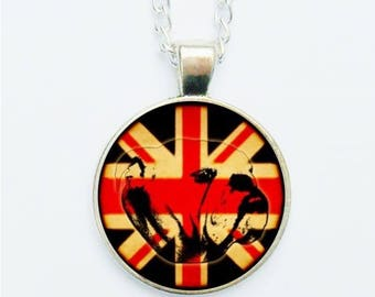 Bulldog Pendant Necklace / Earrings / Ring / Pin Badge Union Jack Red White & Blue Flag The Brits British Dog Dogs Jewellery