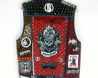 Punk Rock Vest, Denim Punk Vest, Crust Punk Vest, Punk Rock Jacket, Studded Vest, Studded Denim Jacket, Studded Punk Jacket, Studded Crust
