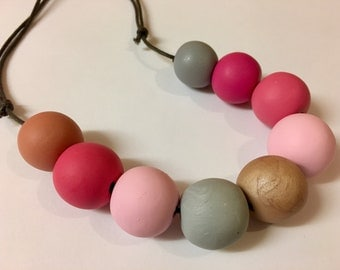 Pink clay beaded necklace
