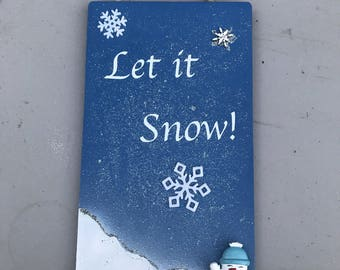 Christmas Let it Snow door hanger/sign and snowman