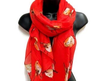 Watercolor Robin Birds Red Scarf,Spring Scarf,Summer Scarf,Autumn Winter Scarf,Christmas Gifts,Gifts For Her,Gifts For Mother,Women Scarf