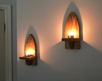 Reclaimed pallet wood candle sconces