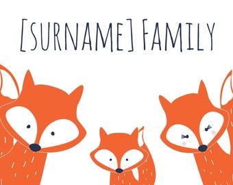 Personalised Three Fox Family