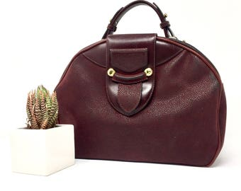 Vintage Burgundy/Burgundy year 80 bag with leather details