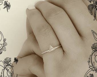 Triangle cut Diamond Ring  Trillion Engagement Ring Simple Diamond Ring Minimalist Ring
