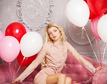 Red White and Pink Balloons - Valentines day Balloons