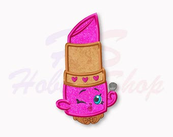 Shopkins Lipstick Applique Embroidery Design, Shopkins Machine Embroidery Designs, Shopkins Birthday, Digital Instant Download, #009