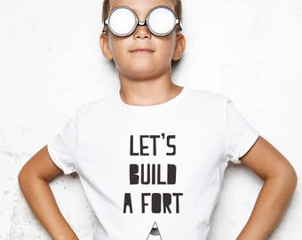 nordic kids gift, scandi childrens gift, nordic present for kids, nordic gift for child, lets build a fort, nordic tshirt, nordic tee