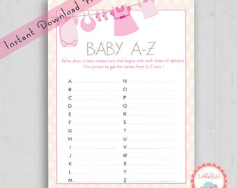 Pink girl baby shower abcs, Its a girl baby shower games ready to print, Diy baby shower game, Gender reveal games, LP5