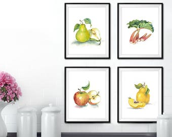 Wall Art Set of 4, Kitchen Decor Wall Art, Fruits Wall Art, Wall Art, Kitchen Painting, Kitchen Wall Art Printable, Instant Download,Kitchen