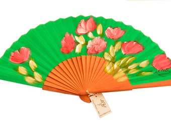 """Hand painted green pear fan """"Andalusian air"""""""