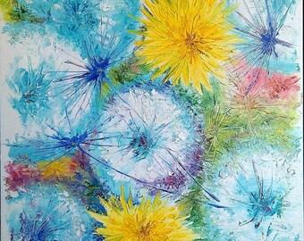 Flowers Dandelions Oil painting on canvas palette knife wall art