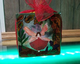 Original Hand Painted Fairy Glass Block with Lights