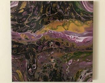"""Fluid Art, Fluid Acrylic Painting, """"Purple Pansies"""""""