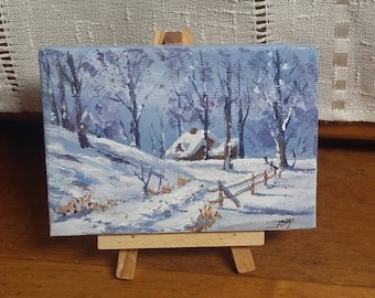 "Mini acrylic painting on easel ""Cabin in the snow"""