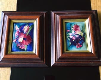 A Pair Of Moorcroft Framed Pictures Wall Plaque Excellent