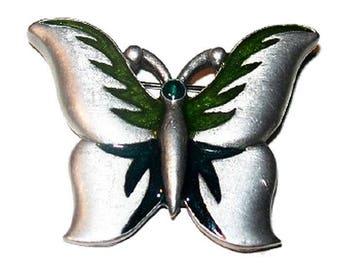 OBO - Vintage Green Enamel Butterfly Brooch Signed L Razza