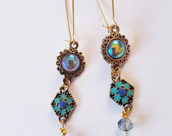 Summer gypsy mermaid style kidney hoop earrings
