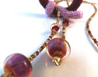 Artist made lilac and crimson pendant knot necklace with handmade focal beads