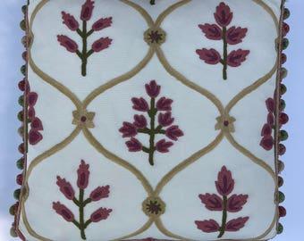 Elegant Floral Linen Pillow
