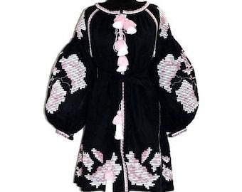Embroidered linen dress Boho Style Peonies Vyshyvanka Mini Bohemian Ukrainian Dresses Custom Ethno Outfit Folk Embroidery